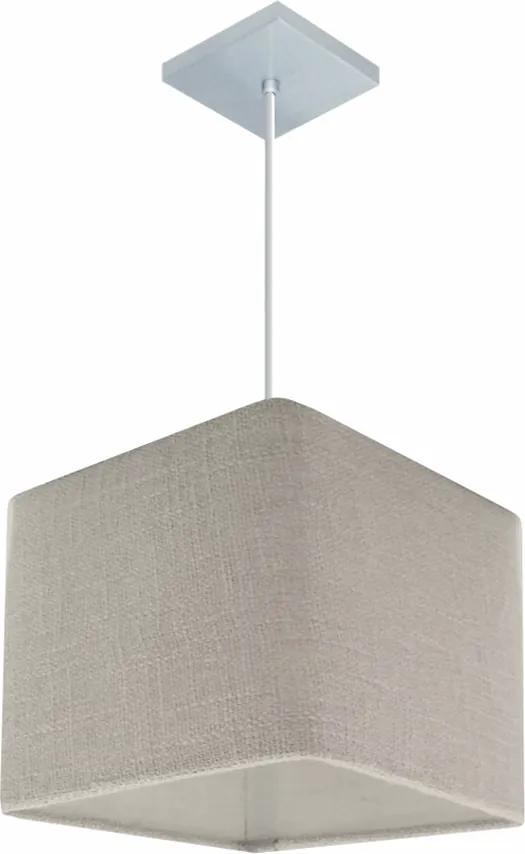 Lustre Pendente Quadrado Md-4058 Cúpula em Tecido 21/25x25cm Rustico Cinza - Bivolt