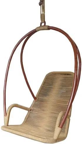 Poltrona de Balanco Paris Estrutura Aluminio Revestida em Corda cor Cobre Ouro com Suporte de Teto  - 54933 Sun House