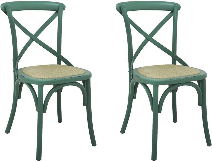 Kit 2 Cadeiras Decorativas Sala De Jantar Cozinha Danna Rattan Natural Verde - Gran Belo
