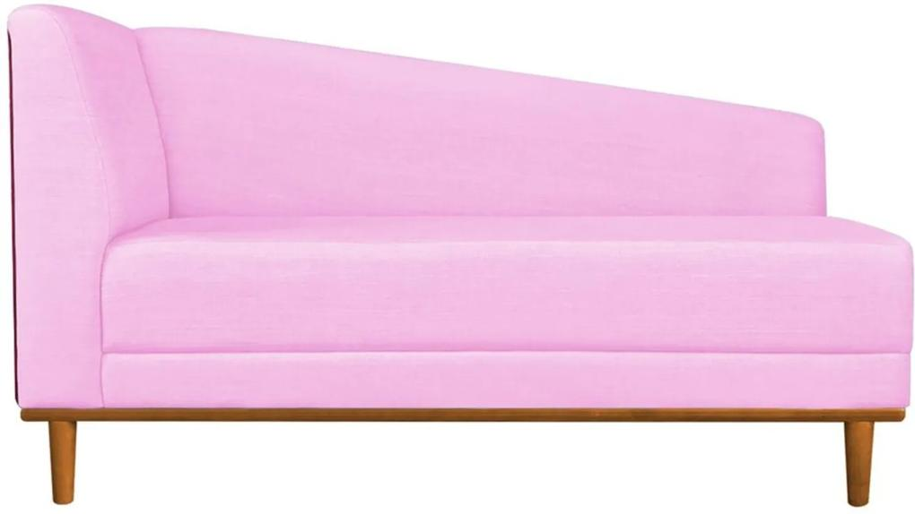Recamier Monet Composê Sintético Vermelho com Linho A08 Rosa Chiclete Base de Madeira - D'Rossi