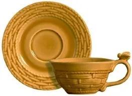 Conjunto 06 Xícaras de Chá c/ pires Bee 2 Mostarda