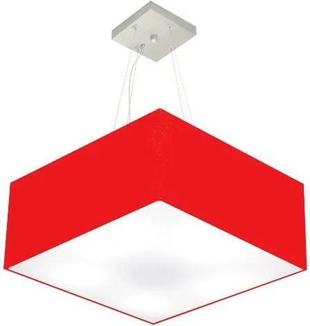 Lustre Pendente Quadrado Md-4065 Cúpula em Tecido 30/70x70cm Vermelho - Bivolt