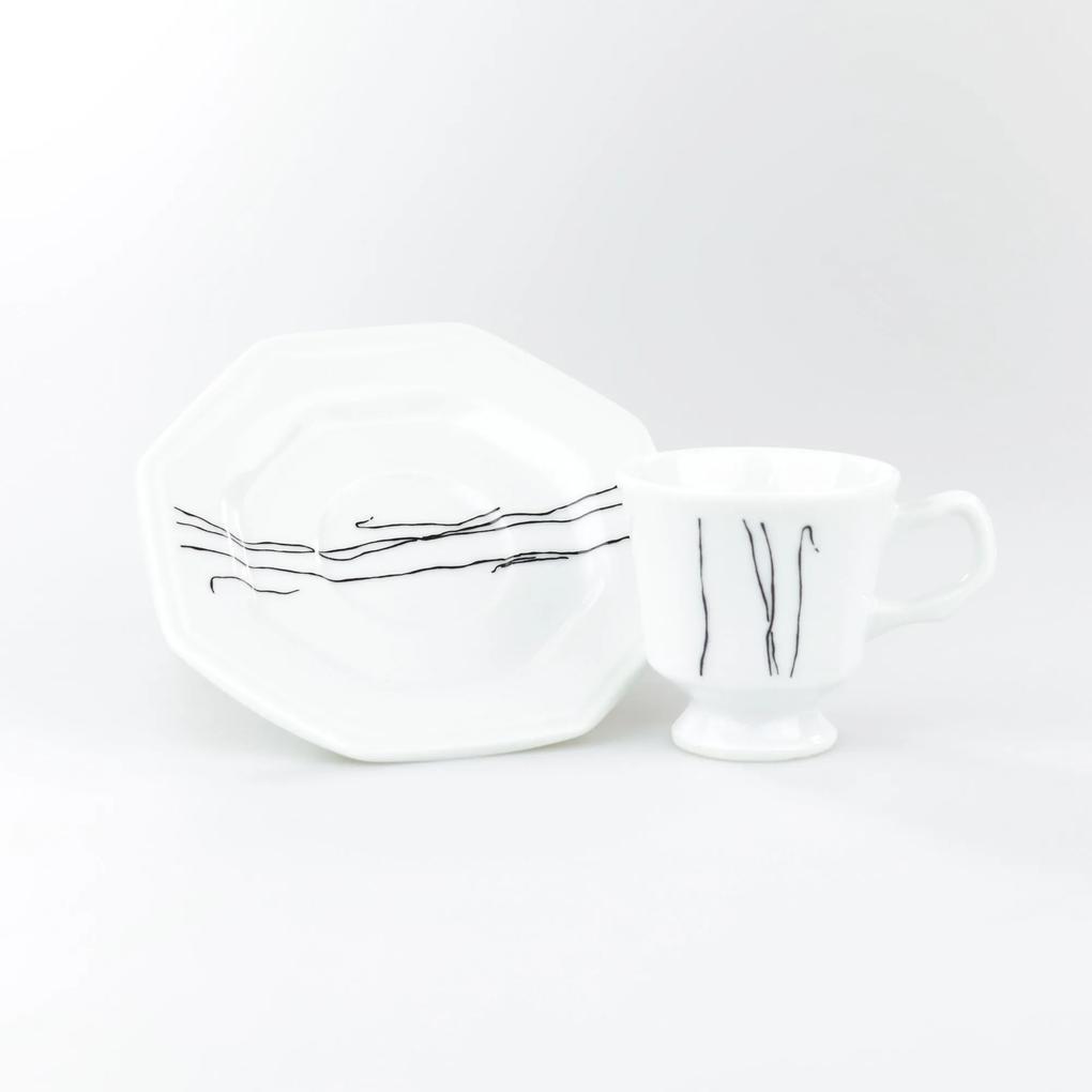 Conjunto de Xícaras para Café c/ Pires Porcelana Schmidt 06 Peças - Dec. Inês