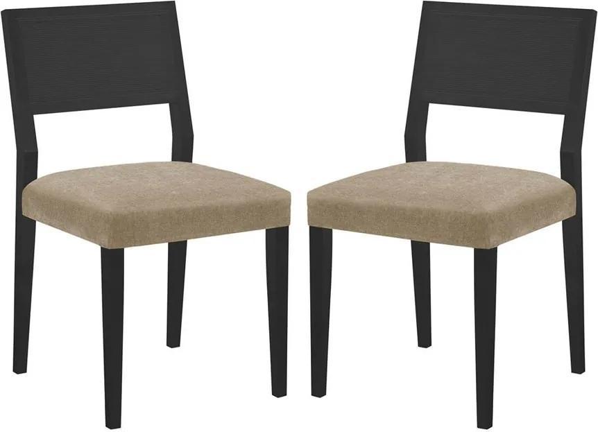 Conjunto 02 Cadeiras de Jantar Gardenia Preta - Wood Prime MT 16843