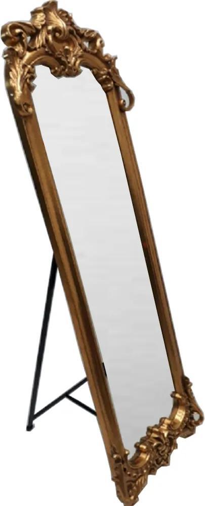 Espelho de Chão com Moldura Clássica Dourada Decorativa - 182x5x57cm