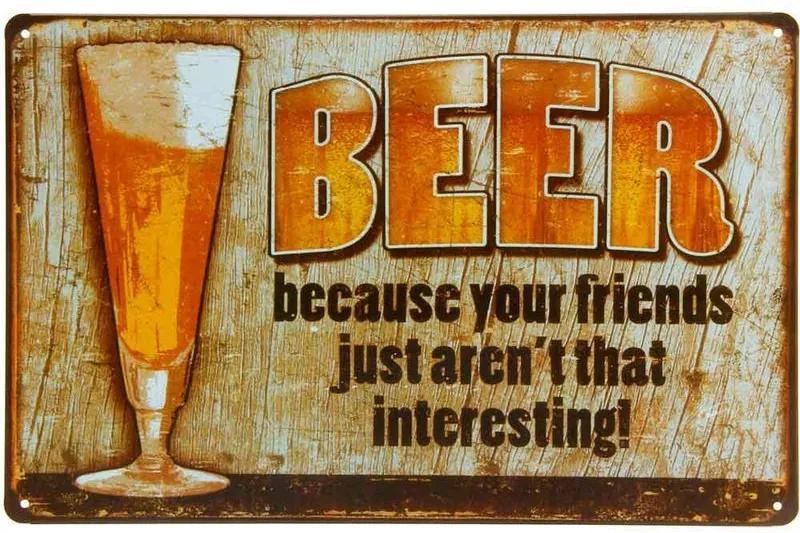 Placa De Metal Decorativa Beer Because