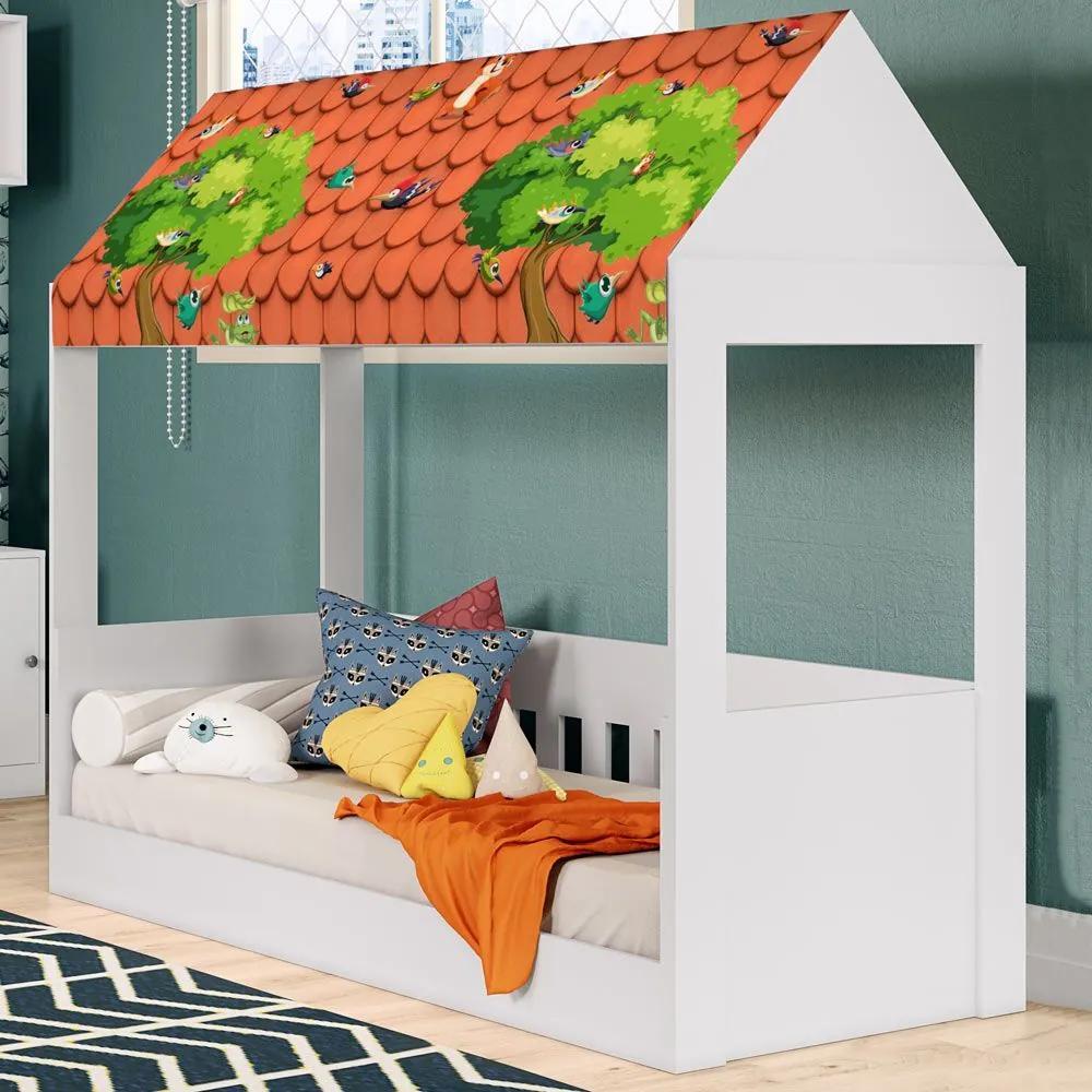 Cama Infantil Alta Com Telhado Branco Kd1650 Bac - Quiditá Móveis