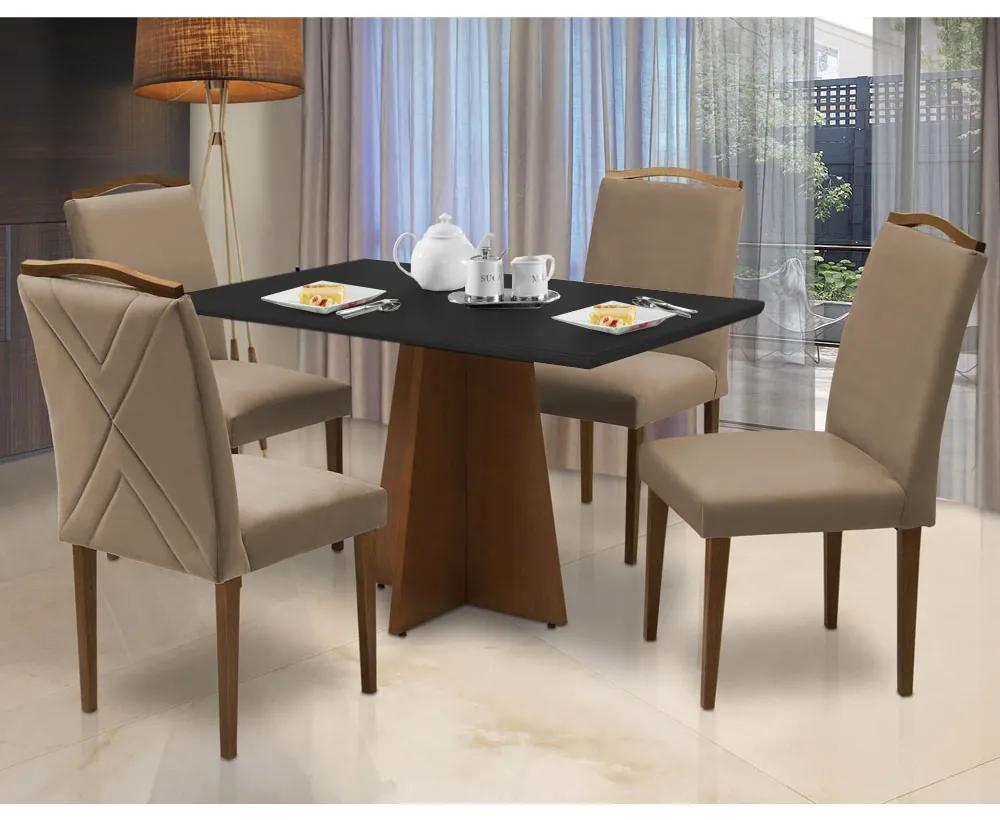 Conjunto Mesa Leticia 1,20 m Off White + 4 Cadeiras Keli Aveludado Nude