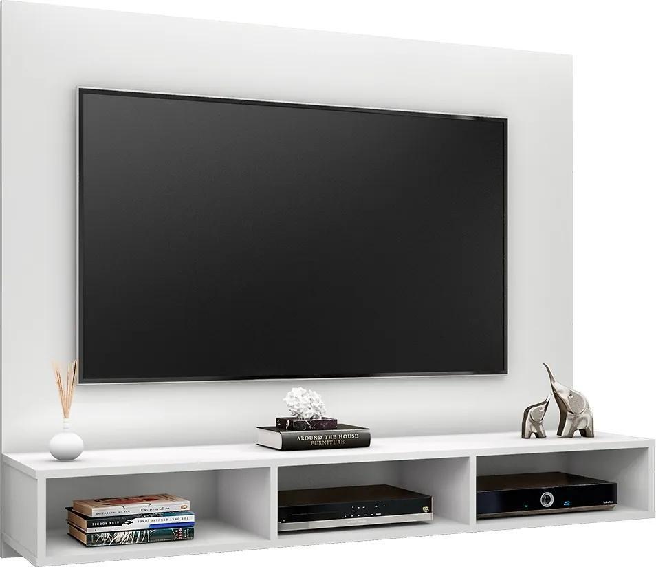 Painel Suspenso 1.3 para TV de até 55'' Sala de Estar Ametista Branco Texturizado - Gran Belo