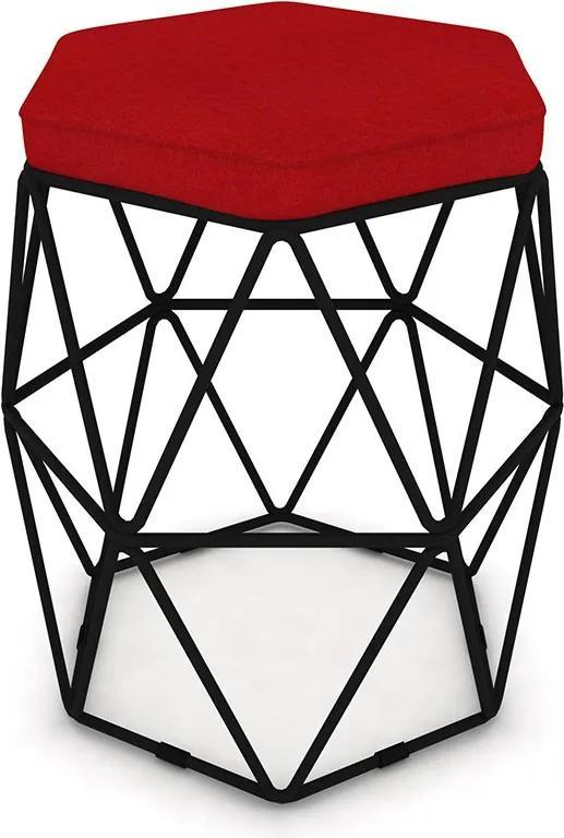 Puff Aramado Hexagonal Base de Ferro Preta Suede Vermelho - Sheep Estofados - Vermelho
