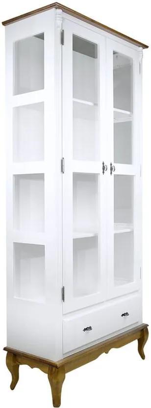 Cristaleira 02 Portas 01 Gaveta Branca e Imbuia - Wood Prime NL 38045