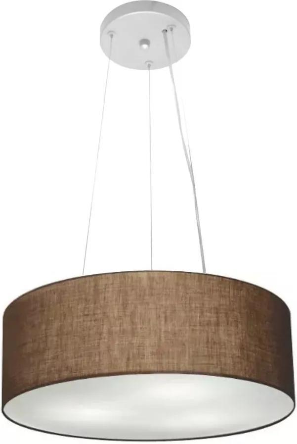 Lustre Pendente Cilíndrico Md-4181 Cúpula em Tecido 40x15cm Café - Bivolt