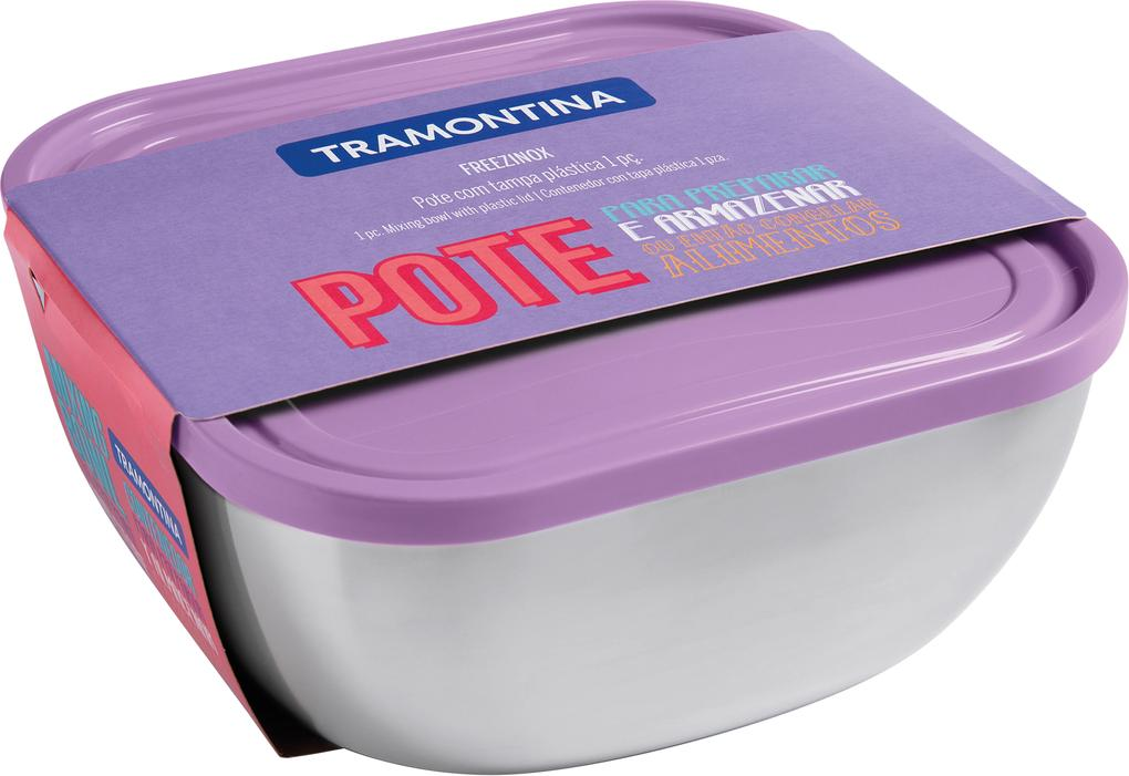 Pote Tramontina Freezinox Quadrado Em Aço Inox Com Tampa Plástica Lilás 23 Cm 4 L 61221234