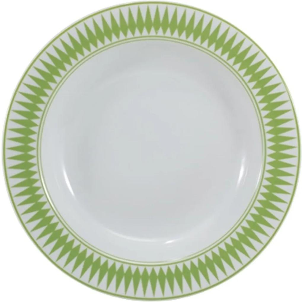 Prato Fundo 23 cm Porcelana Schmidt - Dec. Helena Verde