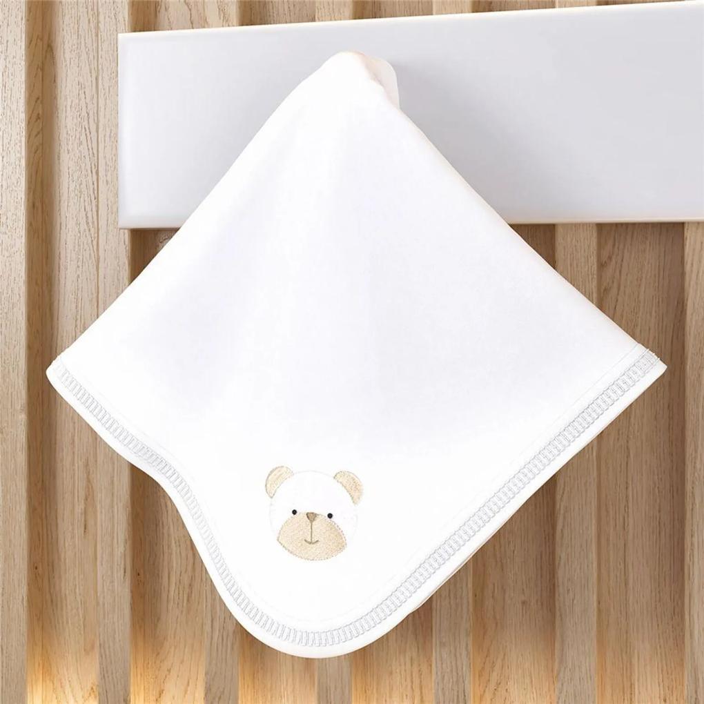 Cueiro Bebê Branco Clássico Bordado Urso 80cm Grão de Gente Branco