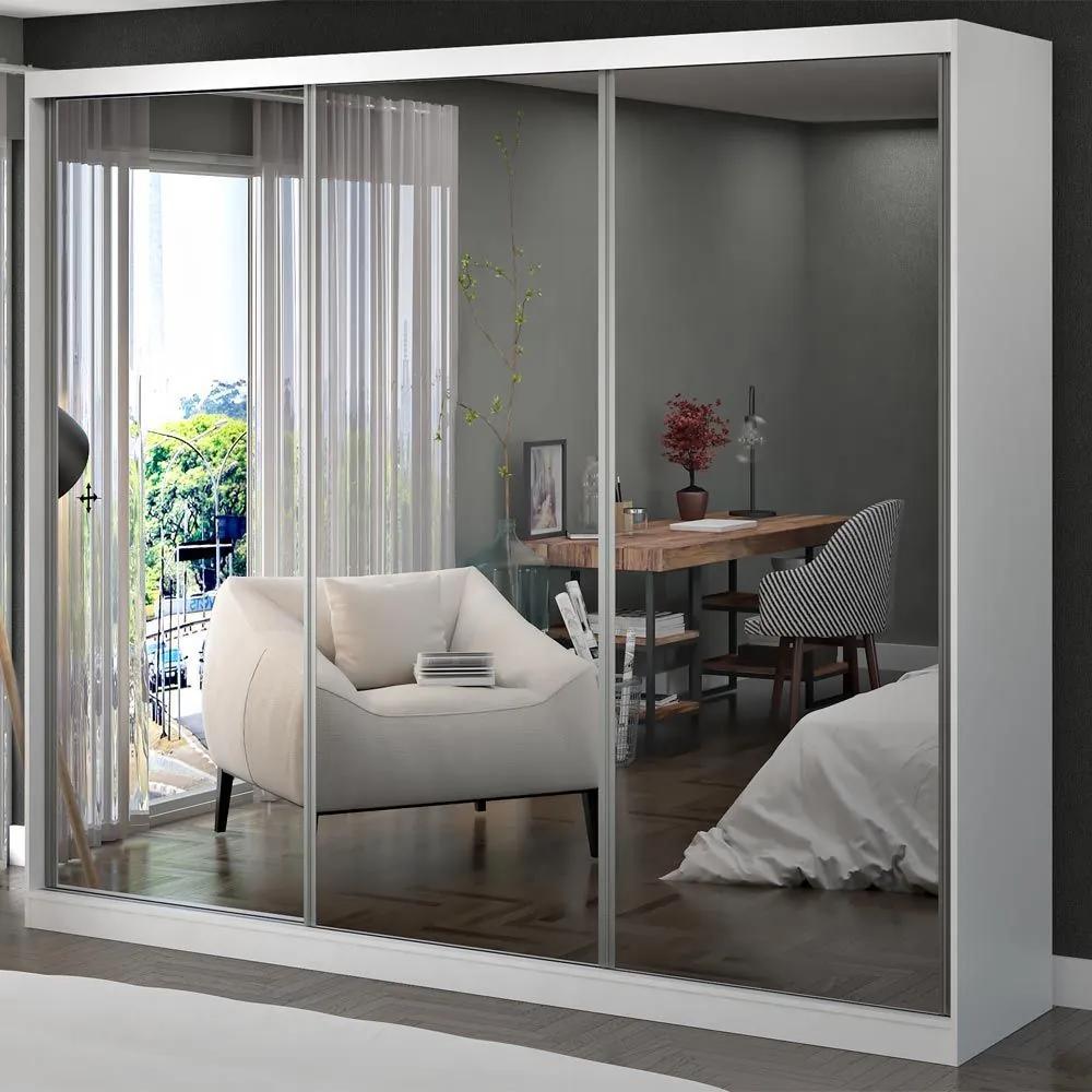 Guarda-Roupa Casal 3 Portas com 3 Espelhos 100% Mdf 1902e3 Branco - Foscarini