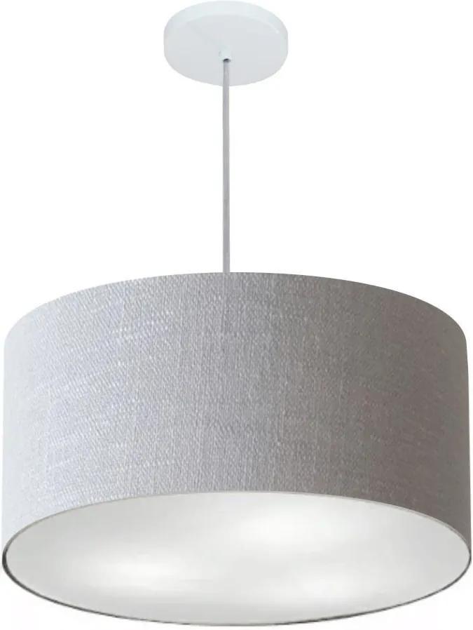 Lustre Pendente Cilíndrico Md-4242 Cúpula em Tecido 45x25cm Rustico Cinza - Bivolt