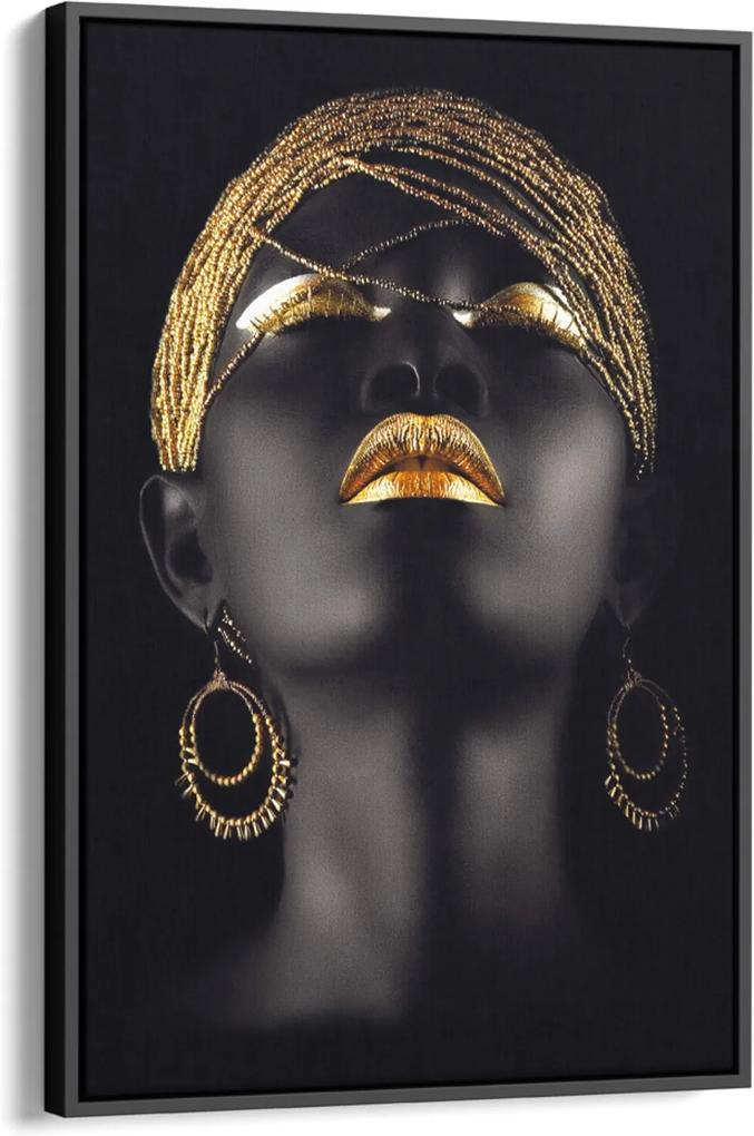 Quadro 75x50cm Mulher Negra Maquiagem Dourada Beltza Moldura Flutuante Filete Preta