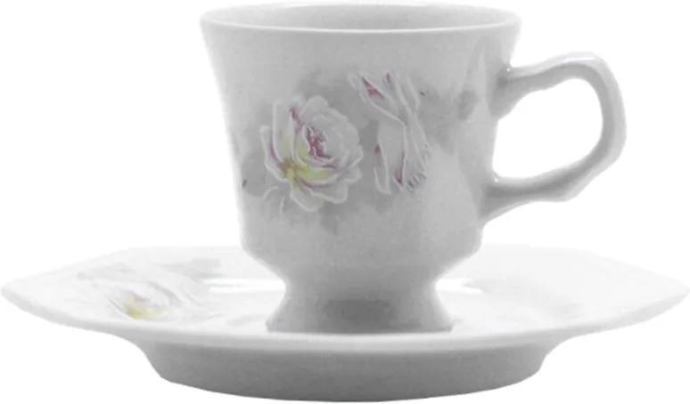 Xícara Café com Pires 70 ml Porcelana Schmidt - Dec. Romântica Prisma 2° LINHA