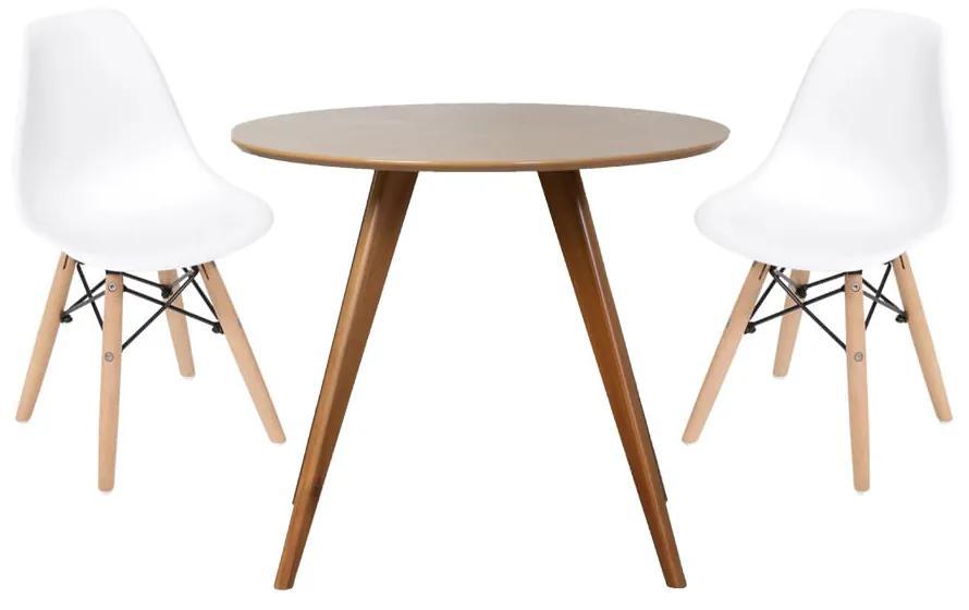 Conjunto Mesa Square Redonda Bétula 88cm + 2 Cadeiras Eiffel Branca