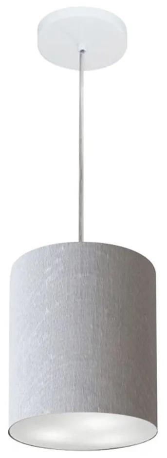 Lustre Pendente Cilíndrico Md-4012 Cúpula em Tecido 18x25cm Rustico Cinza - Bivolt