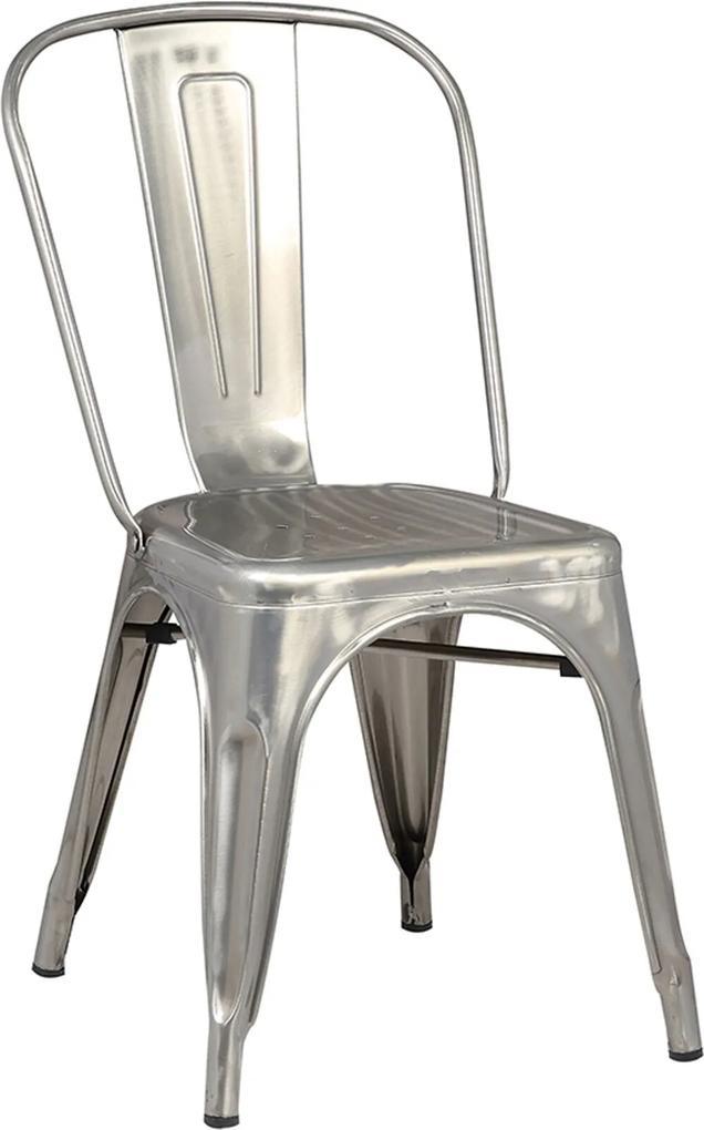 Cadeira Iron Sem Braço Vintage Aço Cinza Rivatti