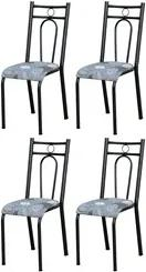 Kit 4 Cadeiras 023 América Cromo Preto/Pará - Artefamol