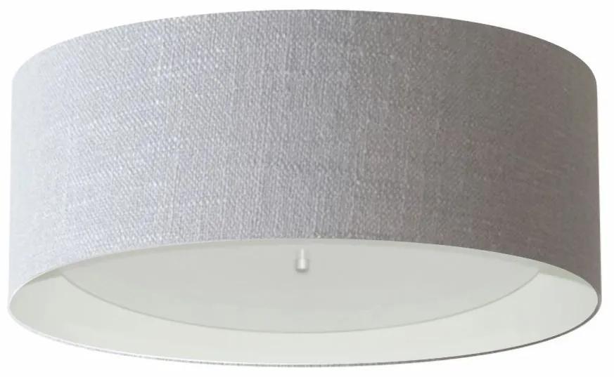 Plafon Cilíndrico Md-3008 Cúpula em Duplo Tecido 60x25cm Cinza / Branco - Bivolt