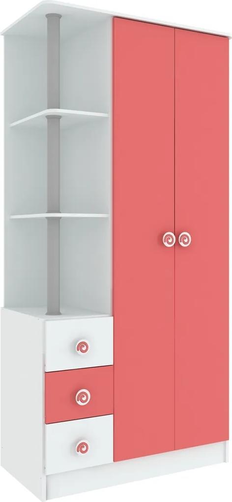 Roupeiro C/Nichos 2 Portas 3 Gavetas RP-705 Hecol - Rosa Pink