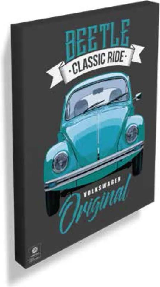 Quadro Tela Fusca Beetle Classic Home Original Azul
