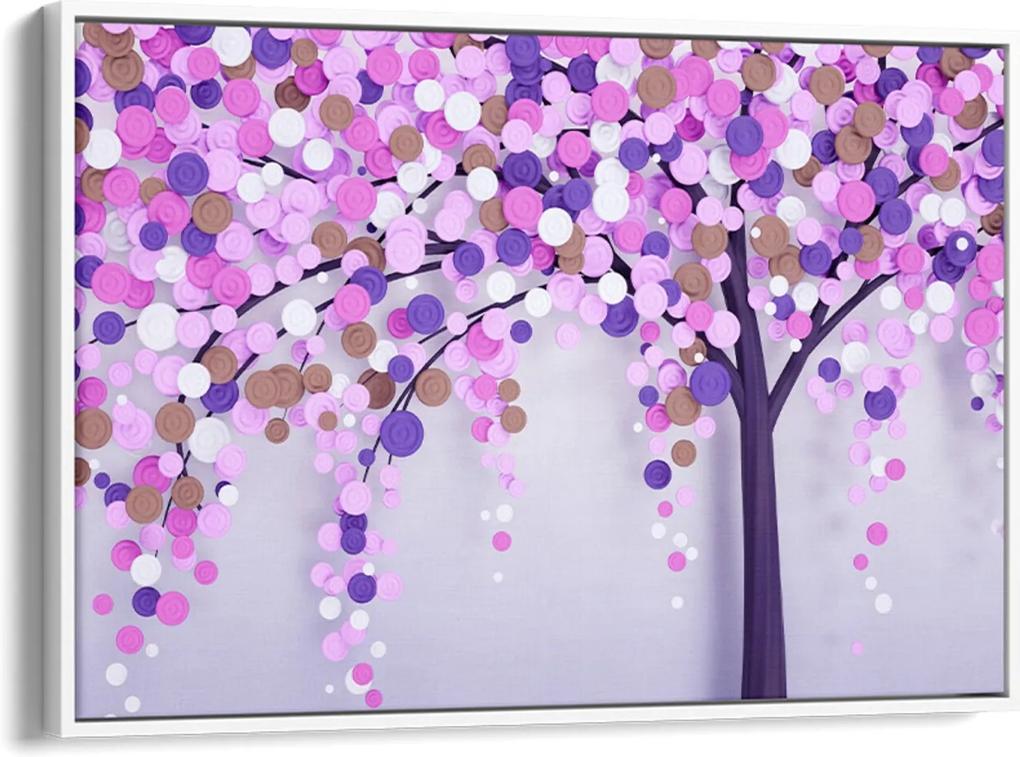Quadro 60x90cm Abstrato Árvore com Pétalas Rosa e Lilás Canvas Moldura Flutuante Branca