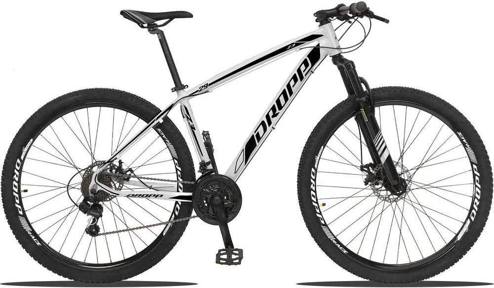 Bicicleta Z3 Aro 29 Quadro Alumínio 21 Marchas Câmbio Shimano Freio a Disco Hidráulico - Dropp - Branco/Preto - 19