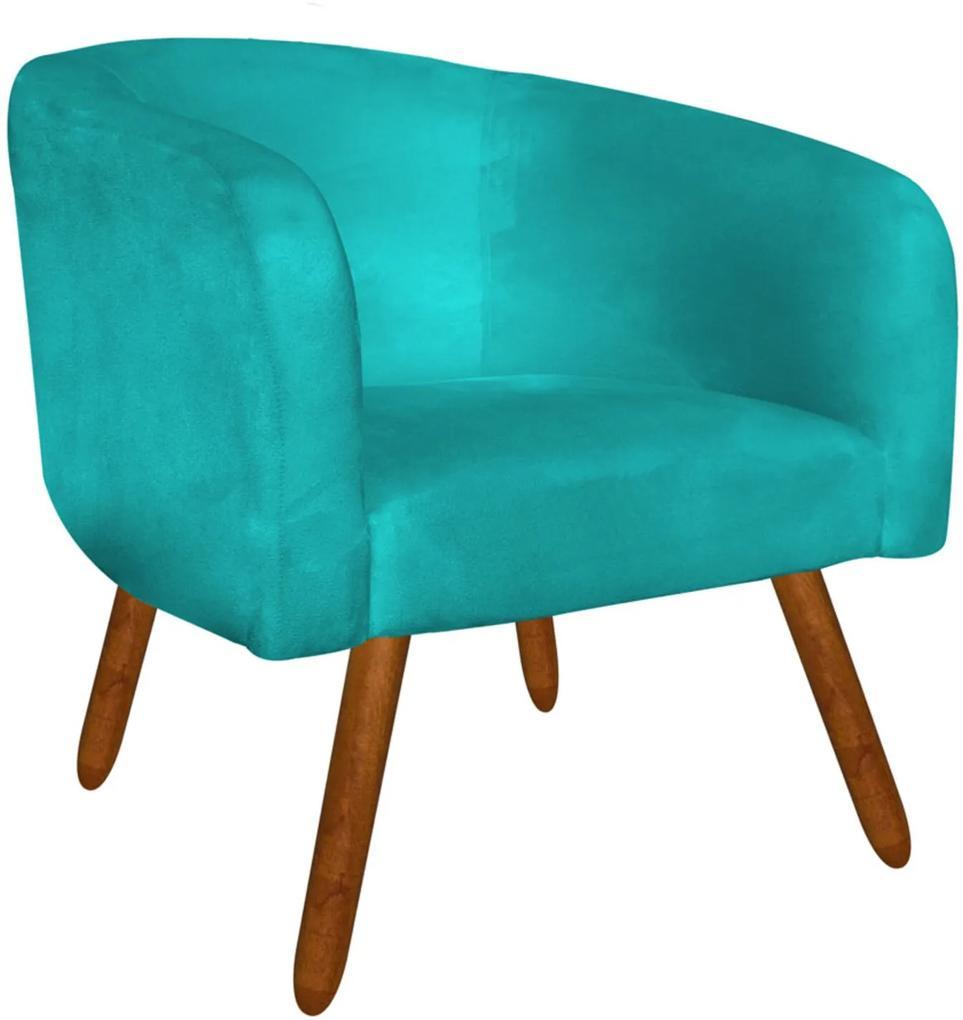 Poltrona Decorativa Stella Suede Azul Tiffany Pés Palito - D'Rossi