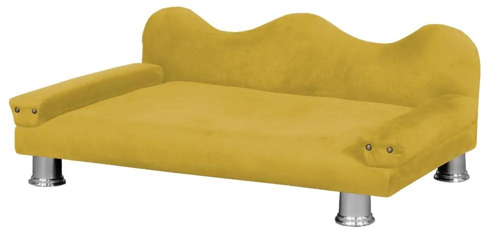 Cama Sofá Pet Meg Para Cães E Gatos Elegante e confortável Suede Amarelo