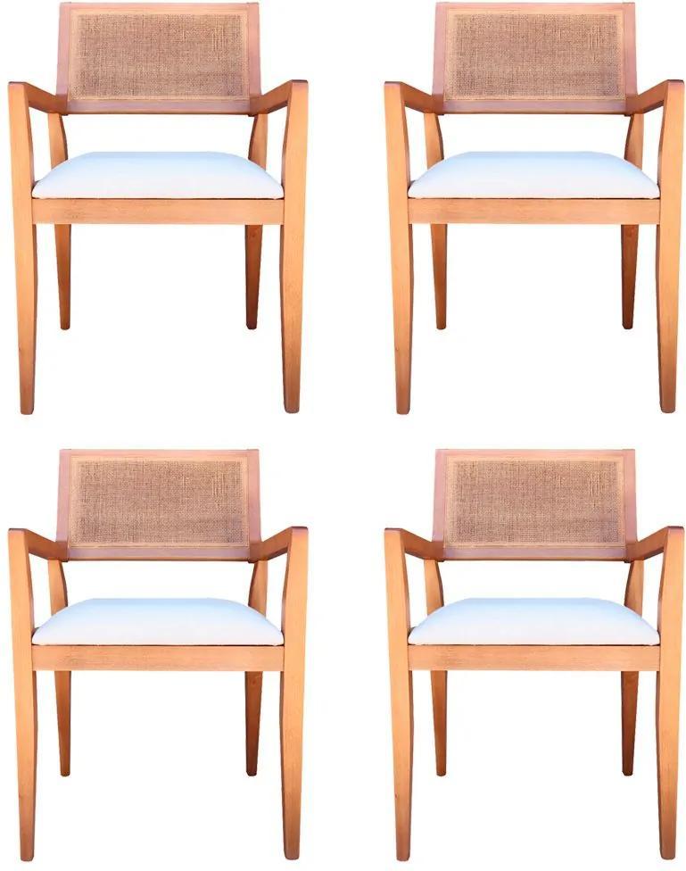 Kit 4 Cadeiras Decorativas Sala de Jantar Megan Amêndoa Linho Bege - Gran Belo