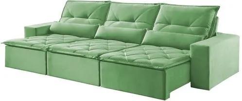 Sofá Retrátil e Reclinável 6 Lugares Verde 3,80m Reidy
