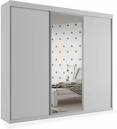 Armário Santorini 03 portas de correr com espelho central - 2,42, Padrao - Branco