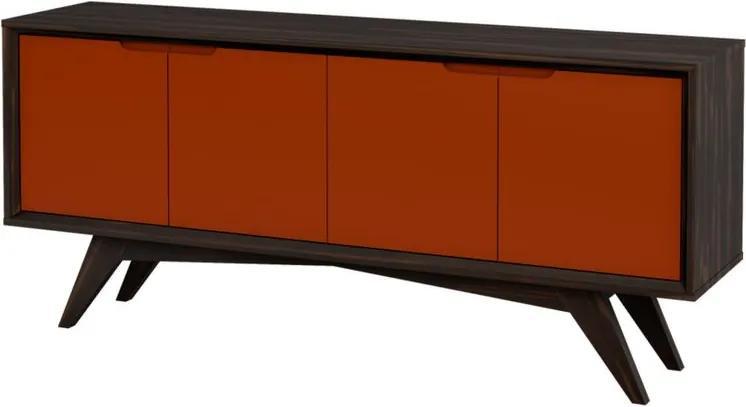 Buffet Querubim 4 Portas Envelhecido e Marrom - Wood Prime MP 27613