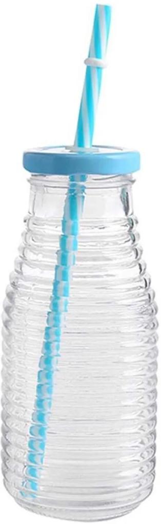 Garrafa de vidro 300 ml com canudo Frizada Azul