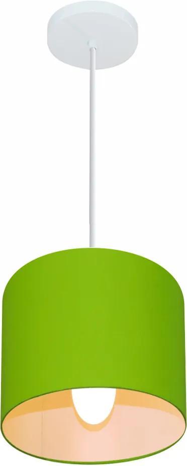 Lustre Pendente Cilíndrico Md-4046 Cúpula em Tecido 18x18cm Verde Limão - Bivolt