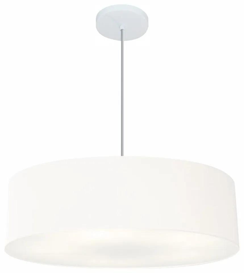 Lustre Pendente Cilíndrico Md-4221 Cúpula em Tecido 60x15cm Branco - Bivolt