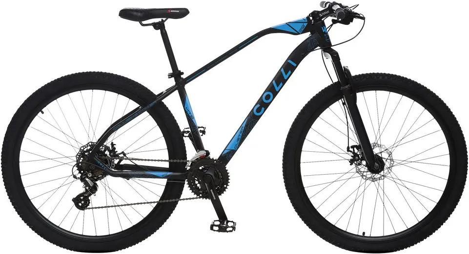 Bicicleta Esportiva Aro 29 Altus Shimano 24v Suspensão Freio a Disco Duster Quadro 17 Alumínio Preto/Azul - Colli Bike