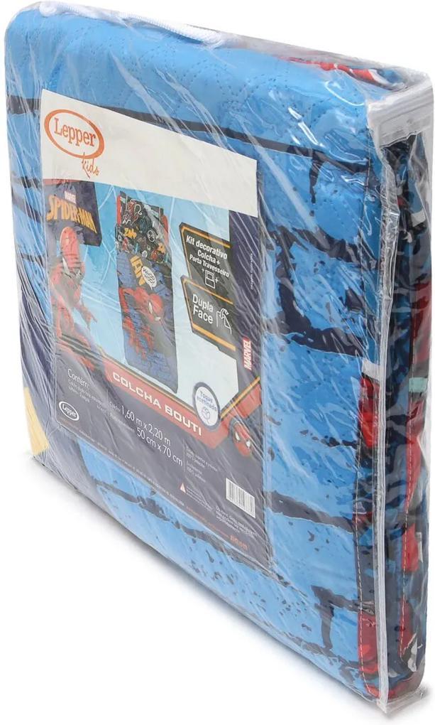 Colcha 2pçs  Solteiro Lepper Spider Man Dupla Face Azul 1,60 x 2,20