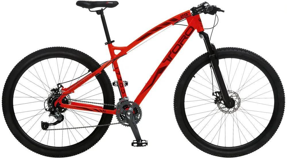 Bicicleta Esportiva Aro 29 Shimano Alívio Suspensão Freio a Disco Toro Quadro 18 Alumínio Vermelho Fosco - Colli Bike