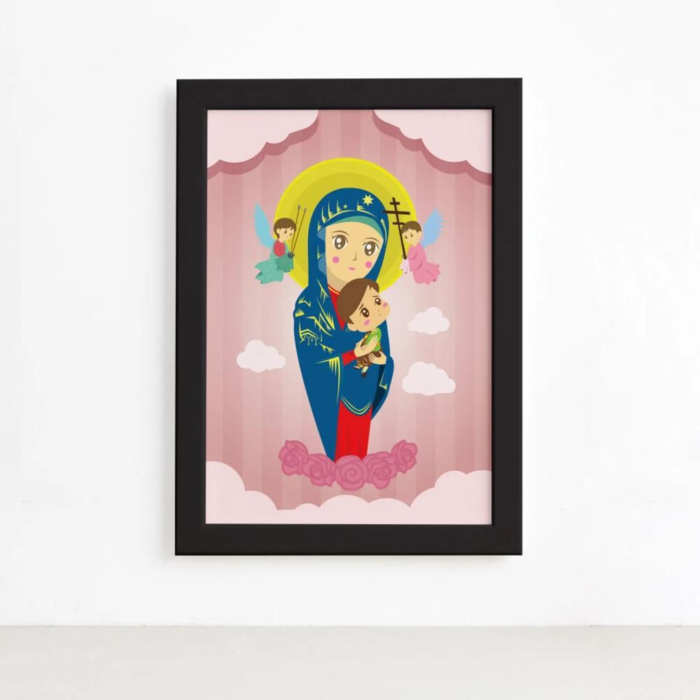 Quadro Nossa Senhora Virgem Maria Moldura Preta 22x32cm