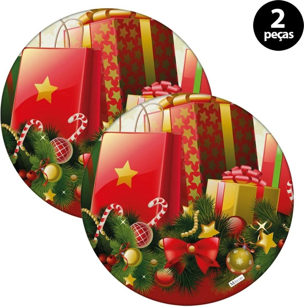 Sousplat Mdecore Natal Presente 32x32cm Vermelho 2pçs