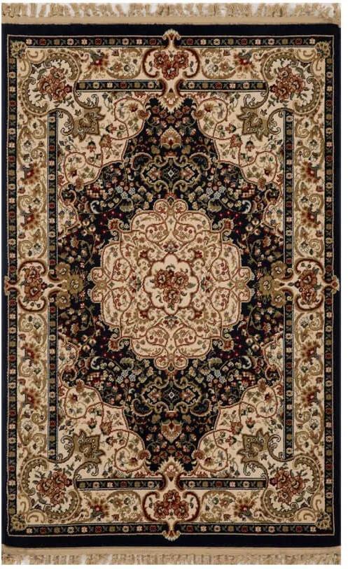 Tapete Persa Qom Preto com Detalhes Florais - 100x150cm