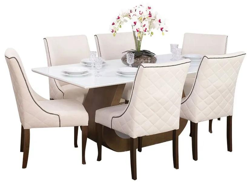 Conjunto Sala de Jantar Mesa Design com 6 Cadeiras Piper - Wood Prime 44662