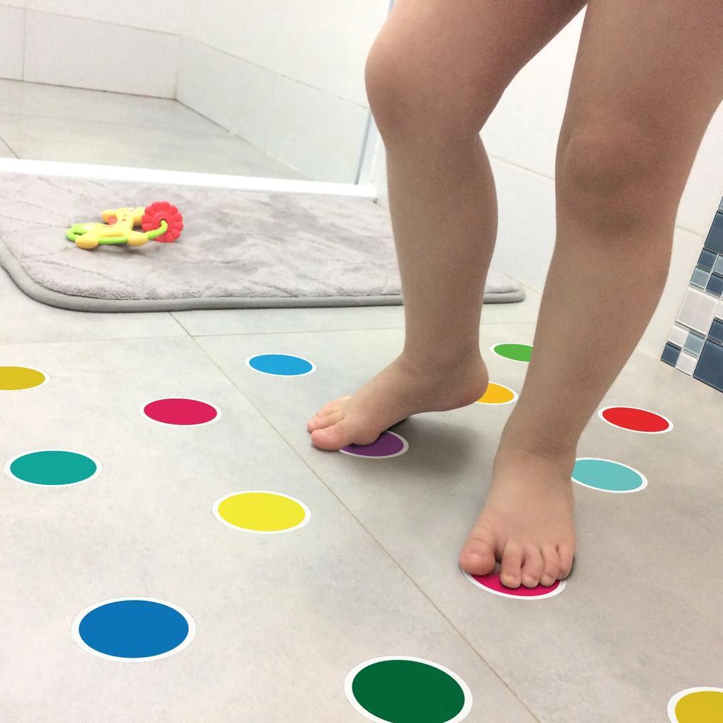 Adesivo Piso Banheiro Antiderrapante Bolinhas Coloridas 14un