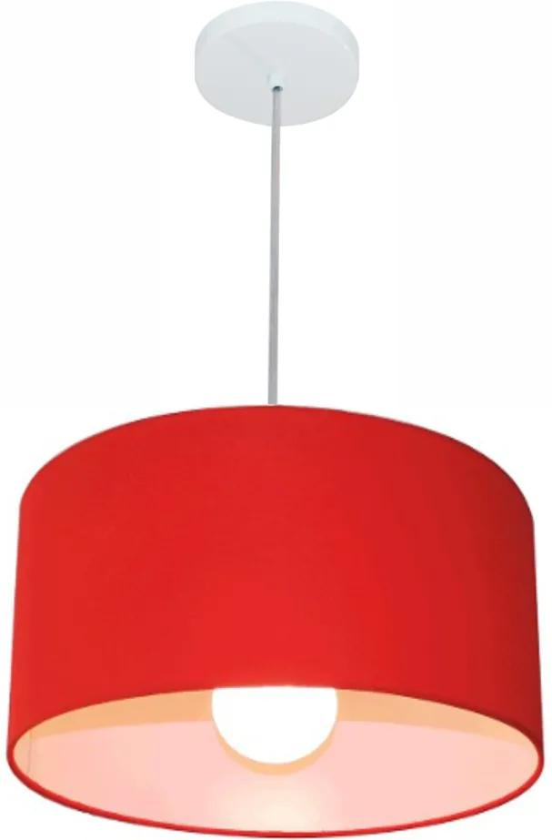 Kit/6 Lustre Pendente Cilíndrico Md-4031 Cúpula em Tecido 40x21cm Vermelho - Bivolt